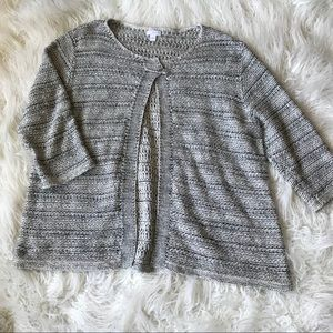 Pure Jill Black and white knit safety pin cardigan